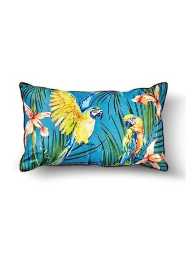 The Mia Tropik Yastık - Parrot Mavi 50 x 30cm Renkli